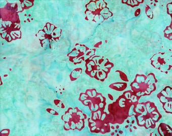 RJR Blossom Batiks 3099 2 Red Flowers With Aqua Blue By The Yard