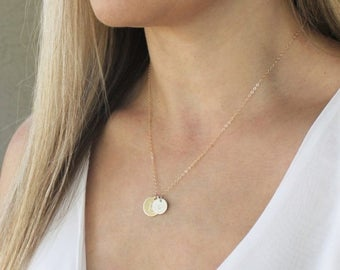 Personalized Necklace, Mixed Silver & Gold Necklace, Personalized Jewelry, Two Initials Necklace, Everyday Necklace, Gift for Wife