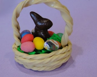Miniature Easter Basket and Chocolate Bunny