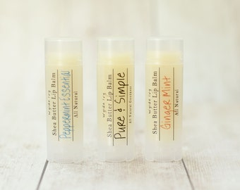 All Natural Shea Butter Lip Balms with Meadowfoam Seed Oil, Shea Butter, Organic Virgin Coconut Oil, and Essential Oils