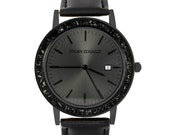 Black Stardust Meteorite Wristwatch, Matte Black Watch And Leather Strap, Meteorite Jewelry, Johan Eduard Watches