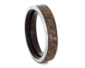 Dinosaur Bone Wedding Band, Titanium Ring With Macassar Ebony Wood Sleeve, Wooden Wedding Band