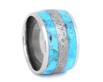 Turquoise Wedding Ring, Meteorite Ring, Turquoise and Meteorite Wedding Band