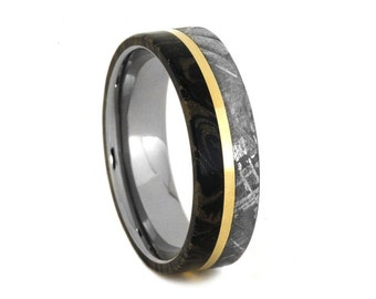 Meteorite Wedding Band With Black And Yellow Mokume, Titanium Ring With A 14k Yellow Gold Stripe, Mokume Gane Ring, Unique Gold Ring