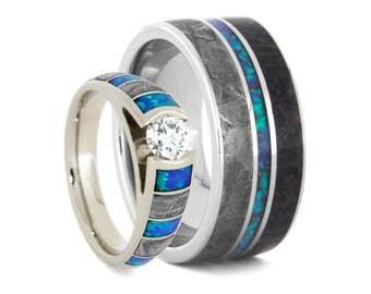 opal wedding ring set diamond cathedral engagement ring with mens meteorite and dinosaur bone wedding