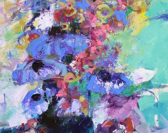 """FLORAL ABSTRACT PAINTING """"Cherish"""" Acrylic on 22"""" x 28"""" gallery wrap canvas Direct from the studio by Elizabeth Chapman"""