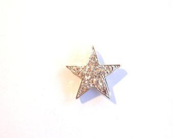 Rhinestone Star Pendant Silver-tone