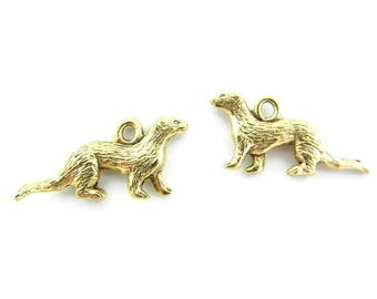 Pair of Gold-tone Pewter Ferret Charms