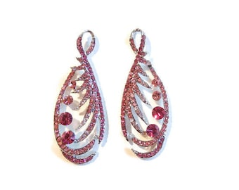 Pair of Silver-tone Open Pink Fuschia Rhinestone Drops