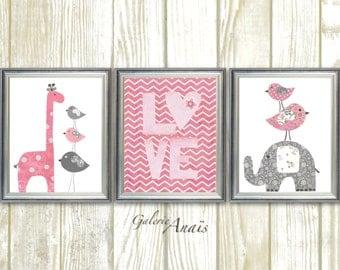 Pink and gray chevron Nursery decor Baby Girl nursery wall art Elephant nursery Birds nursery Giraffe Love Set of three prints