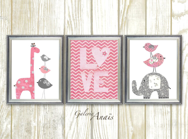 pink and gray chevron nursery decor baby girl nursery wall art. Black Bedroom Furniture Sets. Home Design Ideas