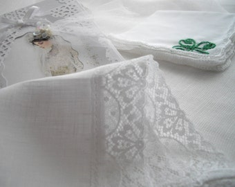 Imported Irish Linen And Lace White Wedding Handkerchief Irish Bells Of Ireland Memento Keepsake Bride MOB MOG Thank You Shower Gift
