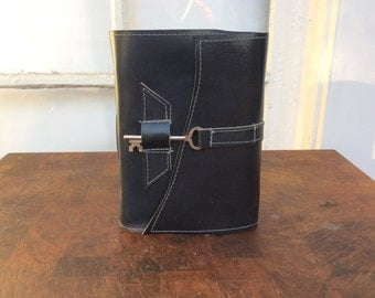 Navy blue leather skeleton key journal with old world torn edge pages by Binding Bee