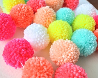 MINI yarn pom pom garland - The Charmaine: Neon pink and yellow, bright mint, white, coral, peach, pink - Home, Nursery, Girl Room Decor