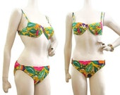REDUCED Vintage 60s Bikini Swimsuit Psychedelic Flower Mod Cole California Xs S