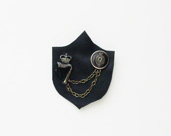 Tuaisceart Éireann Brooch - Pin / Unique Gift Under 50 / Handmade Black Leather & Upcycled Vintage Irish RUC Crowned Harps Jewelry