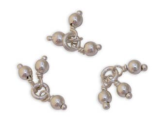 Beaded Sterling Silver Jump Rings 43553 (4), Tarnish Resistant Sterling Silver Jumpring, Beaded Jump Rings, Jump Rings Tassels