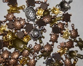 large lot of 60 assorted turtle supply finding stamping charm bead some flat and hollow backs copper bronze silver gold nickle free bead