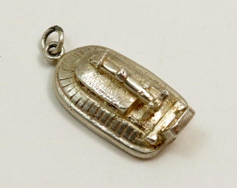 Vintage Sterling Silver Hovercraft Charm Pendant, English Charm
