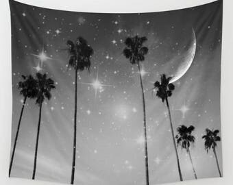 Palm Trees Starry Night Wall Tapestry, TropicalTapestry, Large Size Wall Art, Black White Nature, Moon, Stars, Garden, Beach Hut Decor, Dorm