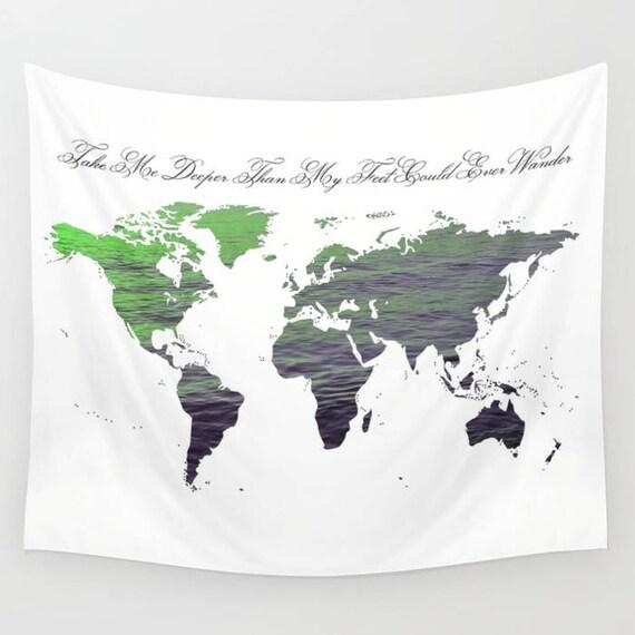 World Map Wall Tapestry, Map Large Size Wall Art, Modern Decor, Outdoor, Garden, Beach Hut Decor, Sea World Tapestry, Green Water Map