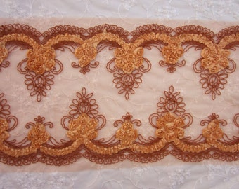 Wide RUST Tulle Fabric Flower Floral Ribbon Soutache Cord Trim Thanksgiving Table Runner Fairy Pageant Costume Doll Bridal Quilt Sewing