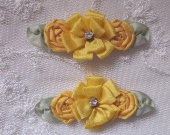 6 pc Sunflower Gold Yellow Ribbon Rose Flower Applique w Rhinestone Baby Dog Christening Bridal Bow Applique