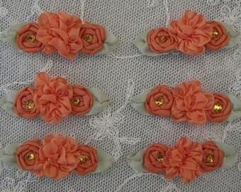 6pc Orange Ribbon Rosette Spider Rose Flower w Stone Applique Dog Hair Bow