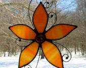 Orange Stained Glass Flower Suncatcher-Floral Stained Glass Art-Window Decor-Home Decor-Stained Glass Flower-Flower Wall Art