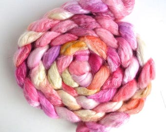 Superwash Merino/ Silk Roving (Top) 80/20 - Handpainted Spinning or Felting Fiber, Silk Bride
