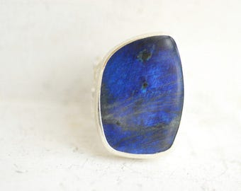 Labradorite Ring, Royal Blue Jewelry, Natural Gemstone, Spectrolite Ring