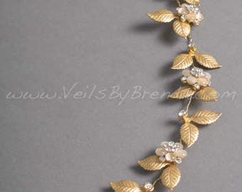 Wedding Gold Hair Vine, Gold Leaf Bridal Headband - Chloe