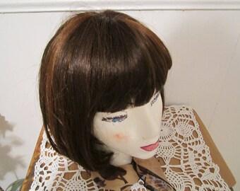 Ladies Wig Dark Auburn Synthetic Fiber Women Wig
