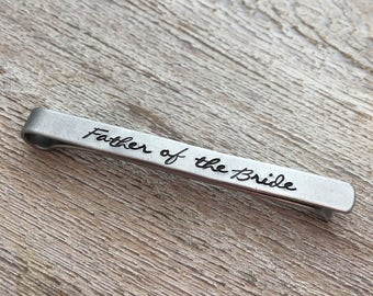Father of the Bride Tie Clip - Father of the Bride Gift -  Script Tie Clips - Wedding Party Gifts - Tie Bars - Dad Gift
