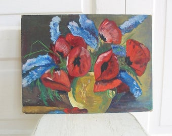 Vintage Poppy Flower Painting, Red Poppies, Vintage Floral Painting, Oil on Canvas Flower Painting, Red Flowers Painting