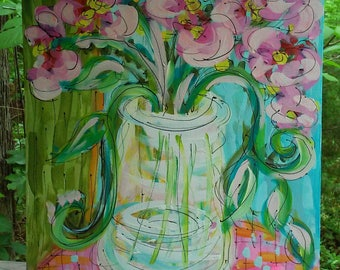 """Abstract Wildflowers in Crystal Vase Original Painting Ready to Ship 18"""" x 24"""" YelliKelli"""