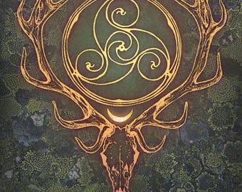 STAG LORD ※ Celtic Irish Herne Cernunnos Bone Bann Disc Gold Spiral Deer Wood Moss Ancient Forever Goddess God Art Print
