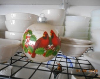 1980 Hallmark Glass Ball Christmas Ornament with Red Cardinal Birds and Holly Nature at Christmas