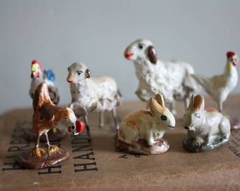 Set of Seven Rustic Chalkware Animals