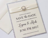 Glitter Save the Date - Elegant Save the Date - Glitter Invitation - Vintage Save the Date - Ivory Silver Glitter - Logan Sample