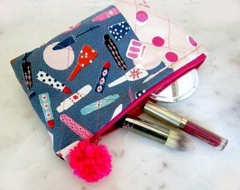Jubilee Makeup Bag, Cosmetics Case, Zipper Pouch, Toiletry Bag, Cosmetic Bag, Zippered Bag, Glam Bag, Quilted Bag, Lipstick Bag, Pink PomPom