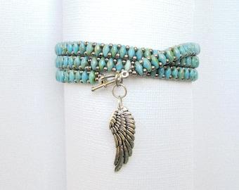 turquoise wrap bracelet superduo bead stackable bracelet multilayered charm bracelet boho bracelet turquoise bracelet wrap bracelet