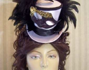 Mardi Gras mini Top Hat, Mascquerade Ball Hat, BlacK and WHiTe Carnival Mini Top hat, Alice in Wonderland Mini Top Hat, Mad Tea Party Hat