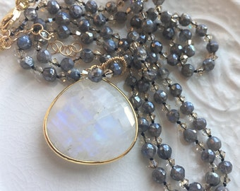 Rainbow Moonstone Pendant Hand Knotted Labradorite Necklace Boh Chic Necklace