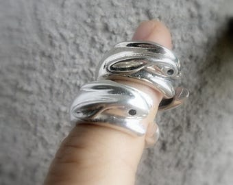 Bunny ring, sterling silver , sweet, Bunny Ring Women's,Retro , Rabbit, swarovski crystal, Wrap Ring Size, Free Adjustable, gift idea