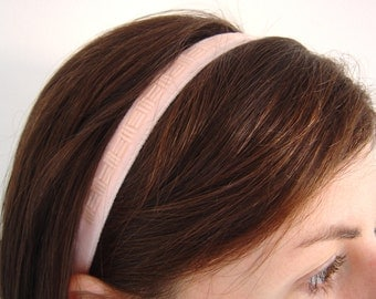 Blush Pink Velvet Headband, Bridesmaid Headband, Beaded Ribbon Hairband, Womens Elasticated Headband, Retro Style Headband, Narrow Hairband