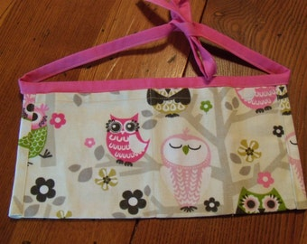 Child's Vendor Apron. Pink. Owls. Canvas. Mommy's Little Helper Apron.