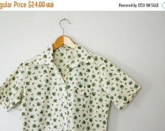 BLACK FRIDAY vintage 60s Ladies Floral Print Button Down Blouse- Olive Green and Aqua Blue Size 36