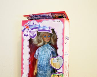 vintage 90s Pregnant Judith Mommy To Be Barbie Style Doll Baby in Tummy in Box