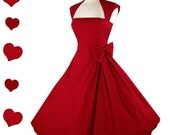 SALE New Red Rockabilly  50s Style Pinup Party Dress S M L Xl Xxl 1X 2X 3X Plus Size Vintage Style Collar Bow Full Skirt